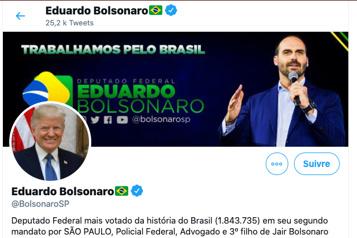 Brésil Une photo de Trump sur le profil Twitter du fils Bolsonaro)