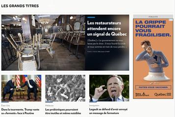 Design actualisé pour l'écran d'accueil du site web de La Presse )