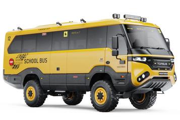 Un autobus scolaire à l'épreuve du verglas, des tempêtes de neige et des inondations)