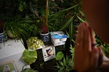 Prières, raisins et saucisses dans un cimetière d'animaux