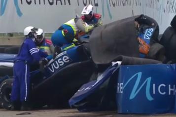 Grand Prix IndyCar de Detroit Felix Rosenqvist impliqué dans un spectaculaire accident, Ericsson s'impose)