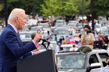 100e?jour au pouvoir Biden participe à un rassemblement pour promouvoir ses plans d'investissements)