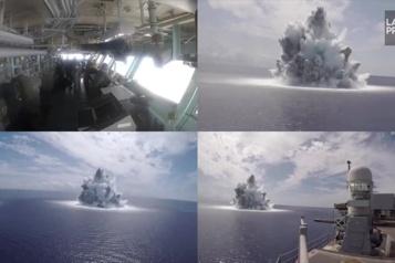 La marine américaine teste un porte-avions avec des explosifs)