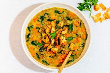 Le summum du réconfort – Recettes d'ici Soupe-repas aux lentilles, carottes etcumin