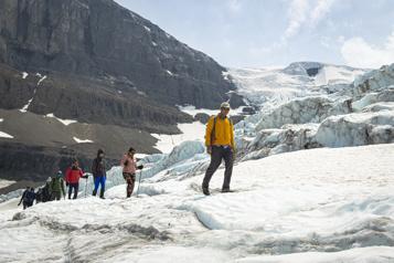 Marcher sur le glacier Athabasca pendant qu'il est encore temps)