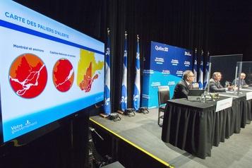 COVID-19 au Québec Malgré un bilan en baisse, plus de régions en rouge)
