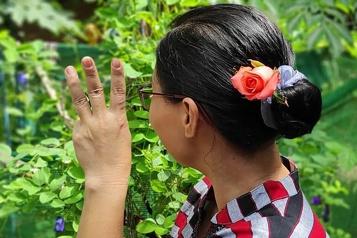 Birmanie Des fleurs dans les cheveux pour souligner l'anniversaire d'Aung San Suu Kyi)