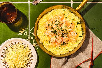 Un classique réinventé Courge spaghetti Alfredo auxcrevettes