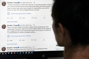 Trump menace de «fermer» des réseaux sociaux après le signalement de ses tweets)