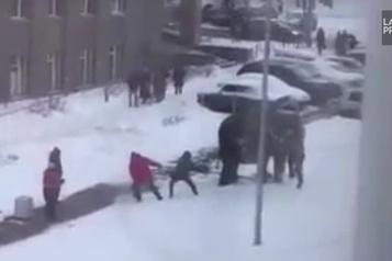 Deux éléphants en ville