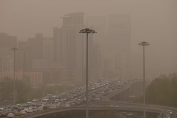 Nouvelle tempête de sable au coeur de la capitale chinoise Pékin)
