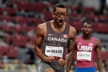 Athlétisme Andre DeGrasse remporte l'or à l'épreuve du 200m)