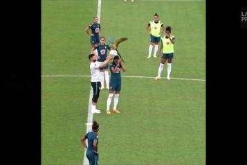 Un perroquet interrompt une séance d'entraînement au Brésil)