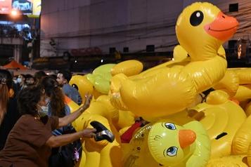 Thaïlande Un canard jaune est devenu le symbole de la révolte)