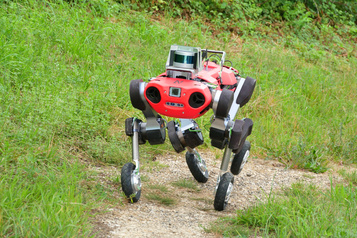 Un robot-chien à roulettes)