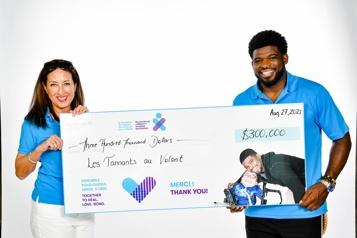 300 000$ pour l'Hôpital de Montréal pour enfants)