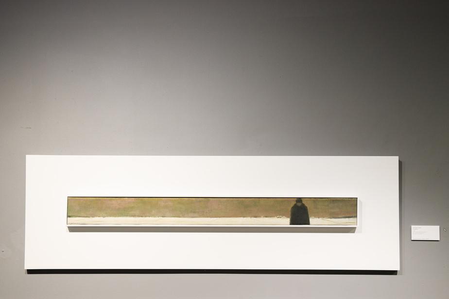 Le pèlerin, vers 1965, Jean Paul Lemieux, huile sur toile, 8,9cm x 99cm.
