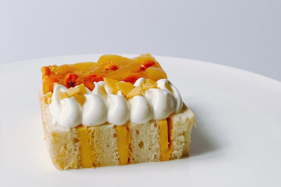 Le gâteau mangue et fruit de la passion de Masami Waki, vendu pour emporter par Trifecta