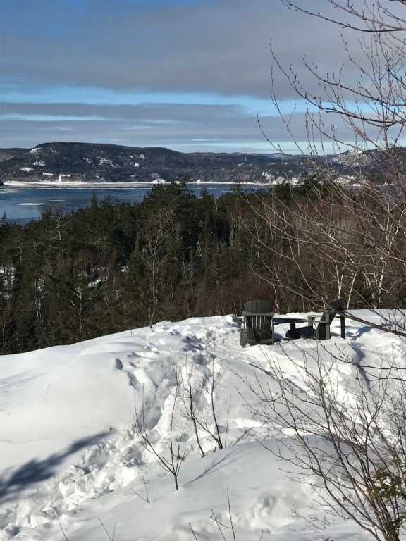 Des chaises judicieusement disposées pour admirer le paysage du fjord