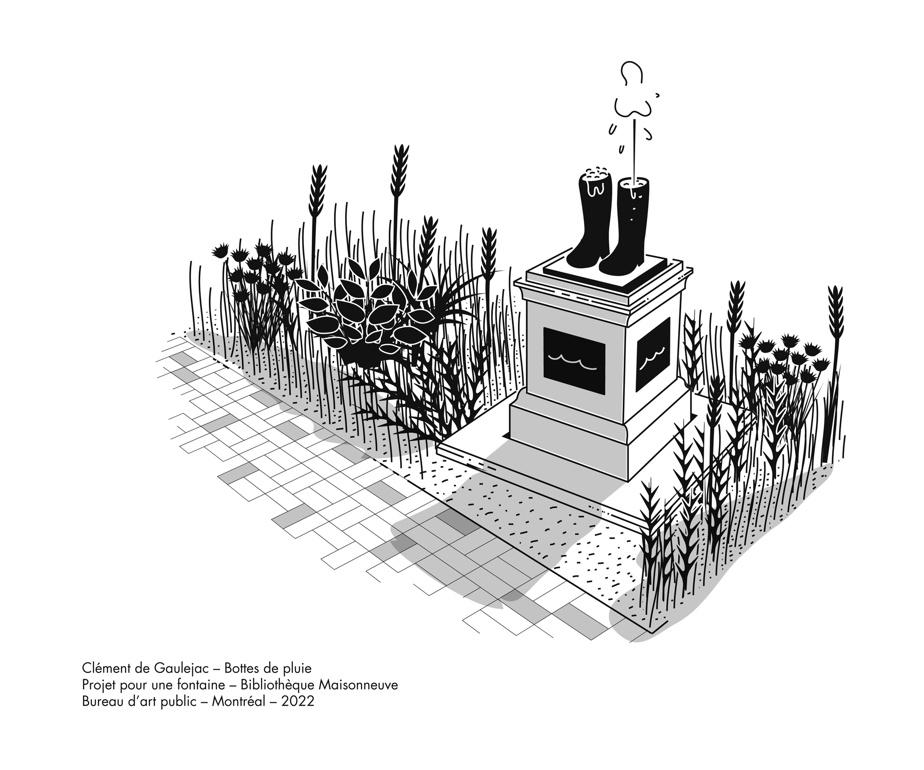Bottes de pluie, Clément de Gaulejac, projet de fontaine pour le Bureau d'art public de Montréal, devant la bibliothèque Maisonneuve. Son premier projet d'art public qui verra le jour dans quelques mois dans le quartier Hochelaga.