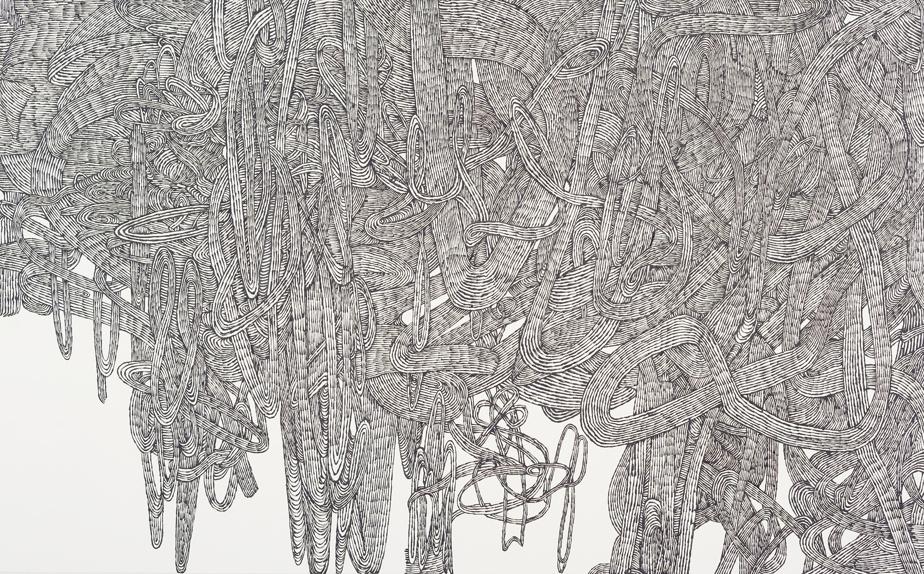 Un chaos luxuriant, 2015, Julie Ouellet, peinture à la cire et acrylique sur bois, 175 x 282cm