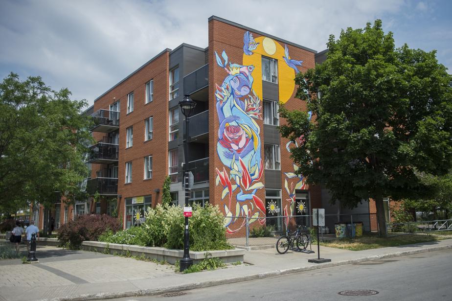 Madre (2020), par Sergio Gutiérrez et Julian Palma, au 12165, boulevard Rolland. Dans cette œuvre murale, les couleurs utilisées et les traits du visage de la femme, inspirés de différentes origines ethniques, font écho au caractère multiculturel du quartier.