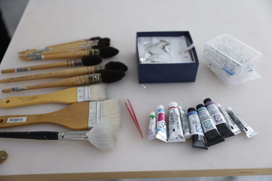 Sur une table de son atelier, Geneviève Cadieux a disposé des pinceaux et des tubes de couleurs.