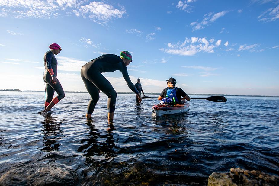 1er juillet 2020. Des triathloniens s'entraînent dans le fleuve Saint-Laurent, entre Lachine et Dorval.