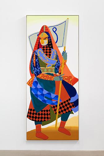 Traveller6 [Voyageuse6], 2019, Rajni Perera, technique mixte sur papier, 243,84 x 101,60cm.