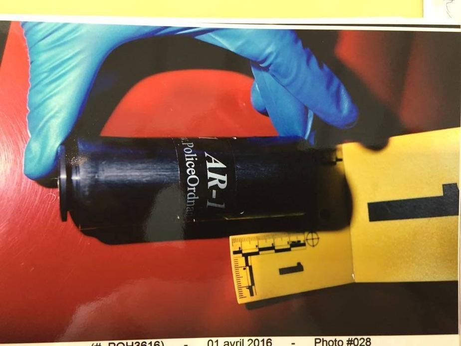 Une cartouche vide de projectileAR-1 trouvée le soir du 31mars2016, sur la rue Arthur-Chevrier
