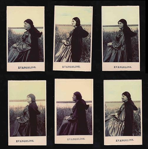 Seated Girl Wearing a Cloak [Jeune femme assise portant une cape] (détail), 2019, Rémi Belliveau, images de style photomaton sur carton, 2,5cm x 4cm chacune.