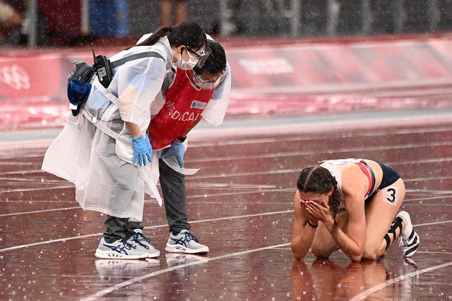 La Britannique Jessica Turner en larmes à l'issue de sa demi-finale du 400m haies féminin. Elle a terminé au septième rang de sa vague.