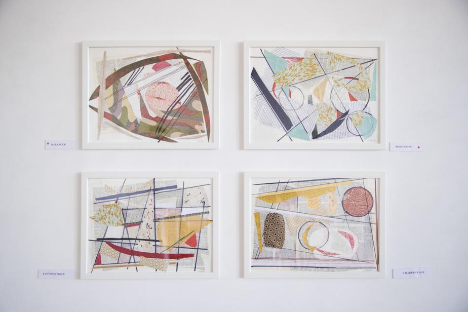 Quatre collages de l'exposition Robert et moi, de Christiane Léaud.