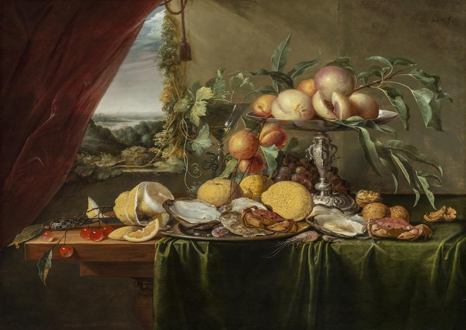 Nature morte de banquet avec vue sur un paysage, vers 1645, Jan Davidszoon de Heem, huile sur bois. Don de Michal et Renata Hornstein.