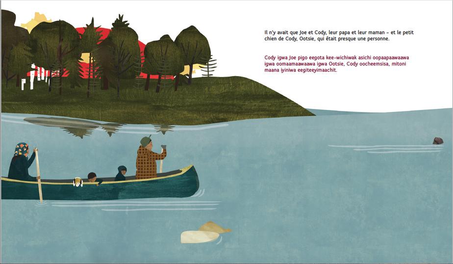 Extrait des Libellules cerfs-volants, texte de Tomson Highway, traduction de Mishka Lavigne, illustrations de Julie Flett, collection Chansons du vent du nord, éditions Prise de parole