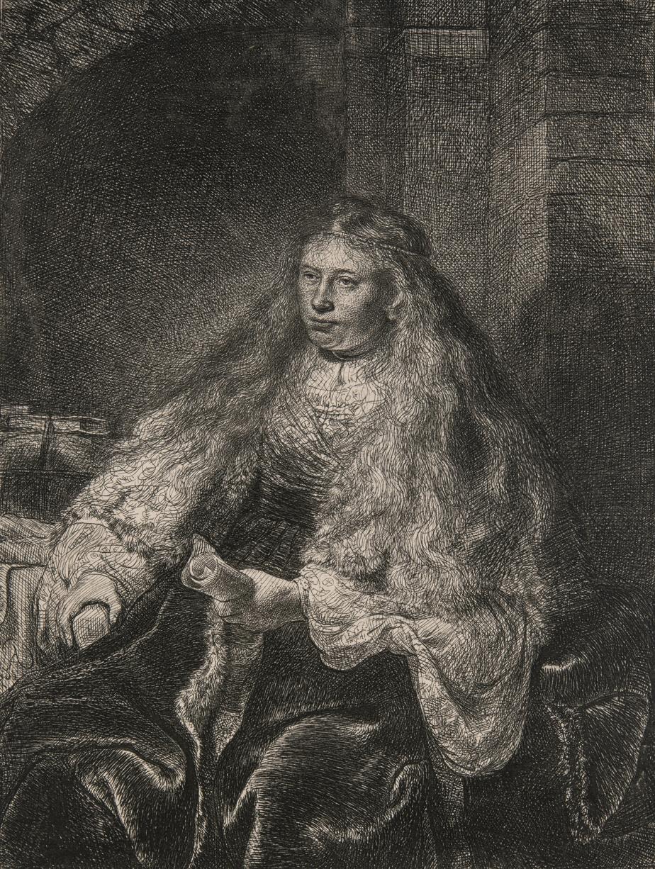 La grande mariée juive, 1635, Rembrandt Harmenszoon van Rijn, eau-forte, pointe sèche, burin, 5eétat sur 5. Don de Freda et Irwin Browns.