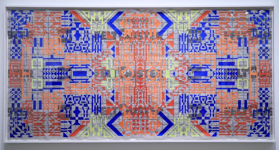 Souvenirs dénoués, 2021, Caroline Monnet, broderie sur feutre-toiture synthétique