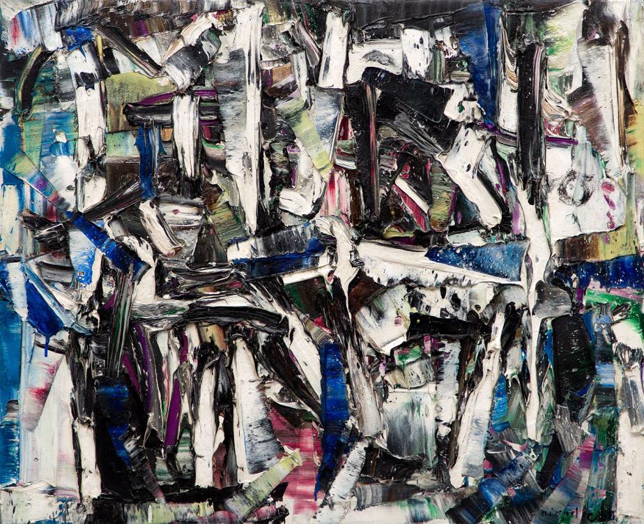 Sans titre, 1958, Jean Paul Riopelle (1923-2002), huile sur toile, 50cm x 61cm. Estimation: entre 175000$ et 225000$.