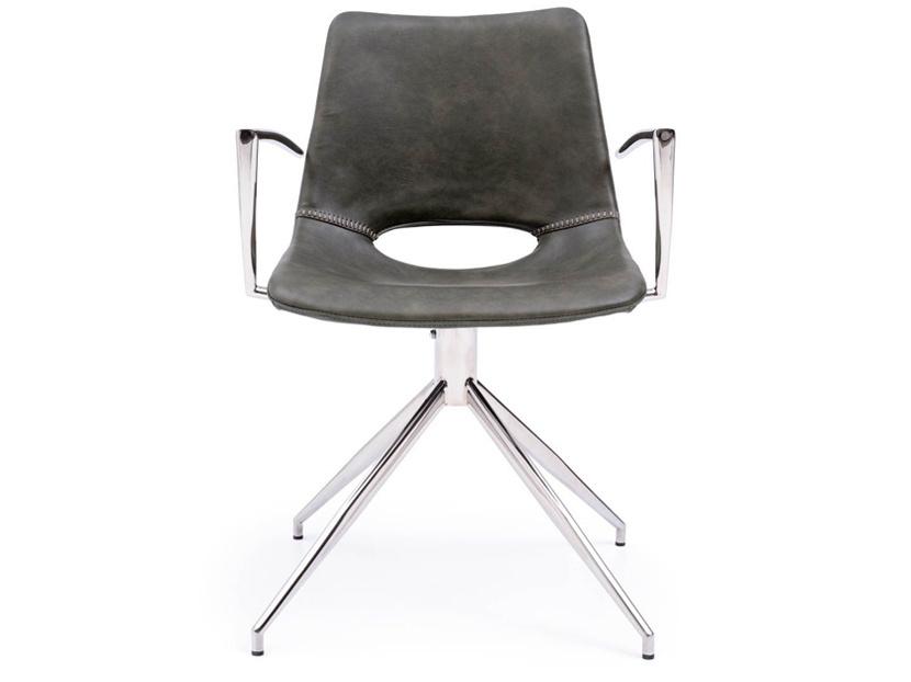 Les accoudoirs de cette chaise à base pivotante de chez Mobilia (Nolan, 359$) ne semblent pas offrir beaucoup de confort et de support. La hauteur n'est pas réglable et le support lombaire est insuffisant.
