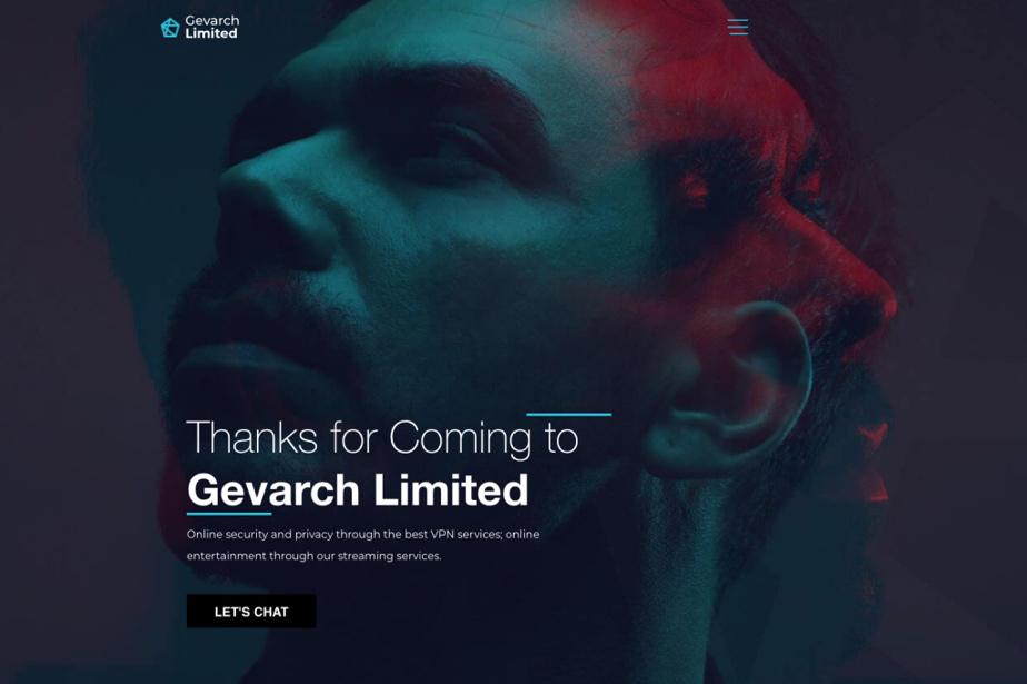 Page d'accueil du site Gevarch Limited