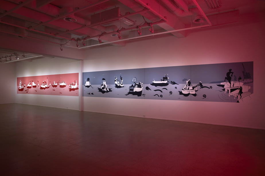 Eaux profondes, Bains brefs, 2019, Clément de Gaulejac, murale de l'exposition Les maîtres du monde sont des gens, à la Galerie UQO