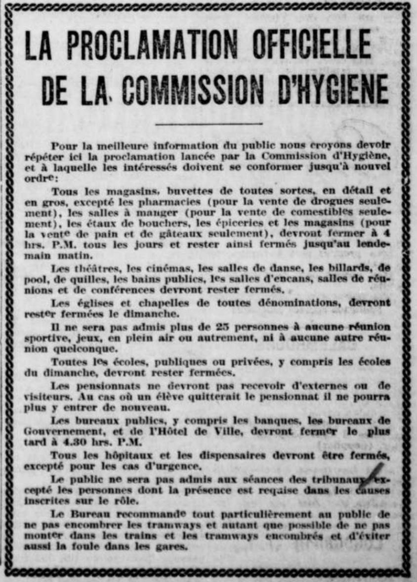 Proclamation de la Commission d'hygiène publiée dans La Presse, le 12octobre1918