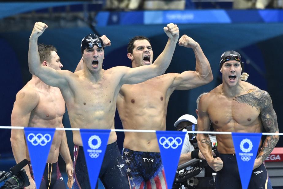 Champions du relais de natation 4 X 100 m ou participants à un concours de culturisme? Les Américains cachent bien leur jeu.