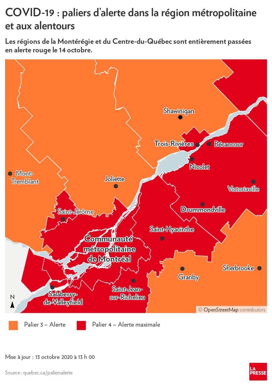 Covid 19 Au Quebec Malgre Un Bilan En Baisse Plus De Regions En Rouge La Presse