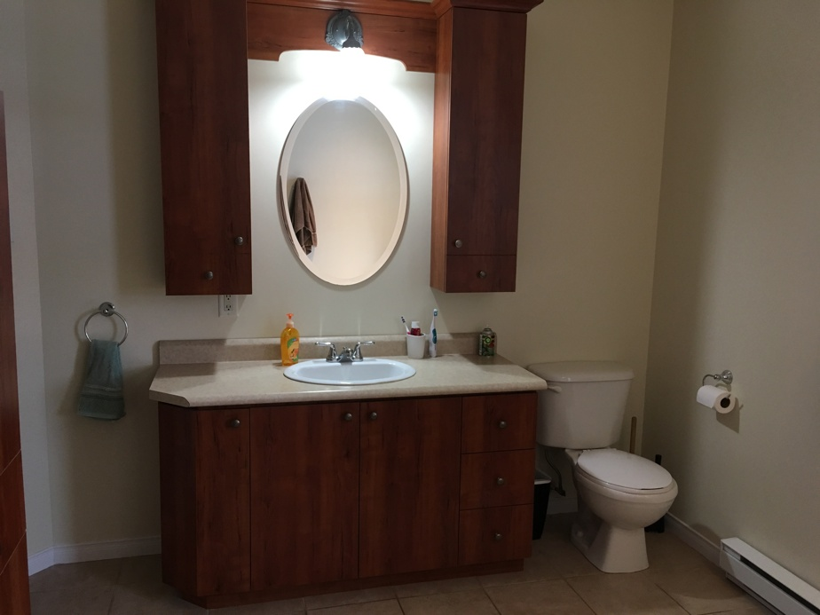 Le meuble-lavabo et la volumineuse penderie, où se trouvait la chute à linge, monopolisaient beaucoup d'espace.