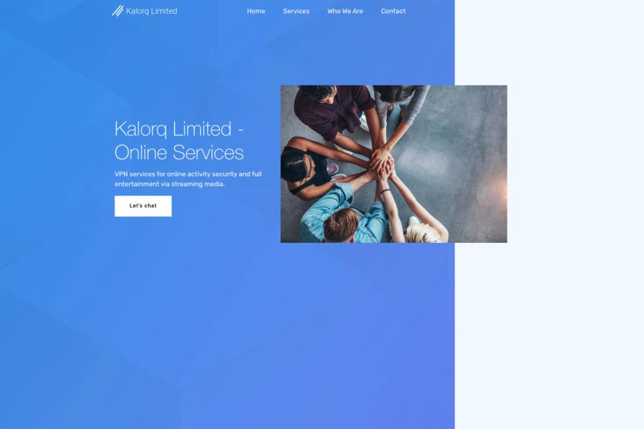 Page d'accueil du site Kalorq Limited