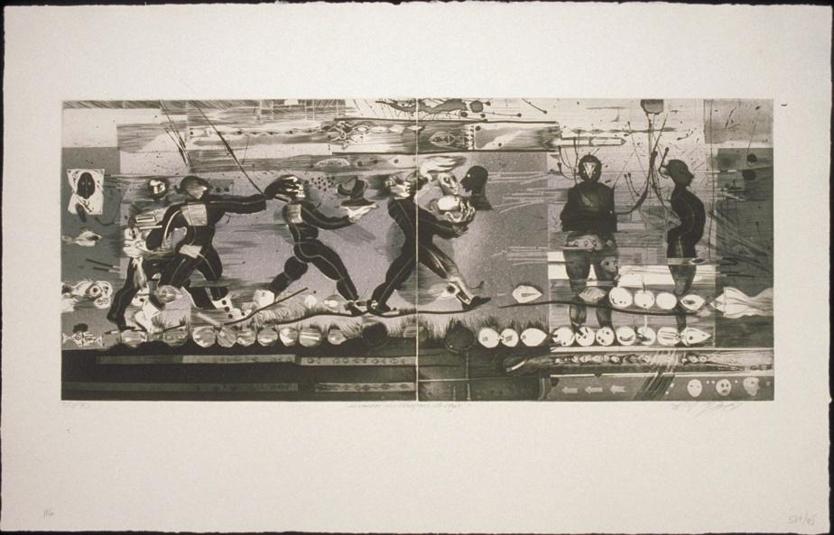 La course des garçons de café, 1981, eau-forte, aquatinte, burin, pointe sèche, 48,5 cm x 76cm