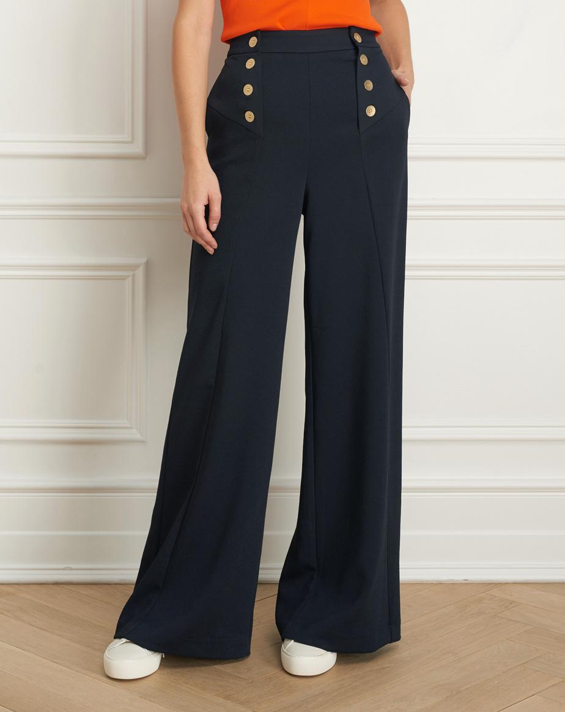 Pantalon large taille haute avec boutons dorés (375$)