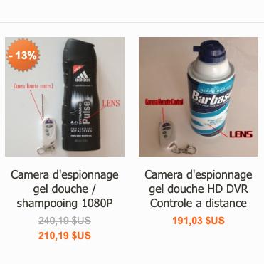 Certains modèles de caméras-espionnes destinées aux toilettes sont assortis de télécommandes.