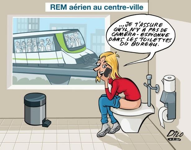 REM aérien au centre-ville Illustration de Nicola Di Lauro, de Hudson, en lien avec le REM et l'enquête de Marie-ClaudeMalboeuf sur les caméras-espionnes publiée les 3 et 4mai.